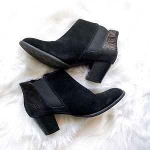 Vionic Black Suede Booties with Snakeskin Detail